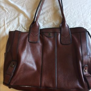 Chocolate brown leather Fossil tote